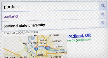 عکس صفحه از پیشبینیهای جستجوی فوری