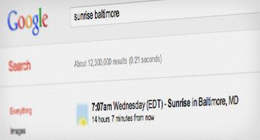 عکس صفحه زمان طلوع آفتاب در بالتیمور